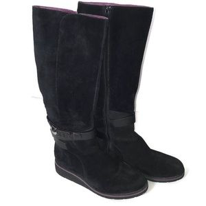 Cole Haan Black Suede Tall Zip-Up Boots Size 9